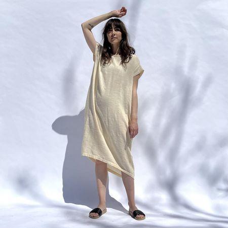 Black Crane Pleated Cocoon Dress - Vanilla