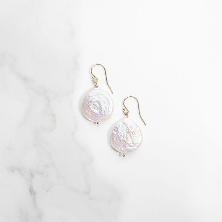 Punkwasp Pearl Coin Earrings - Pearl/Gold