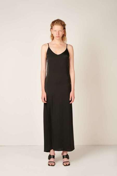 DIGITARIA Long slip satin dress - Black