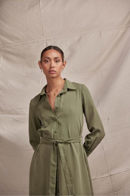 Lois Hazel Carmela Shirt Dress - Moss