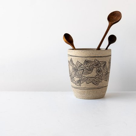 Ariane Boudreault-Lambert Stoneware Pot / Planter with Mishima Engraving