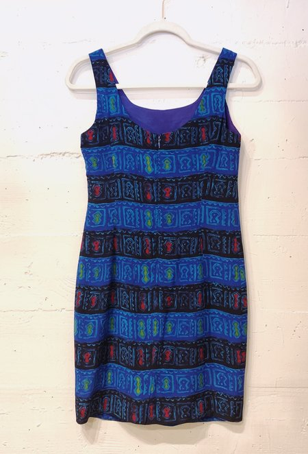 Vintage Silk Shift Dress - Blue Monoprint