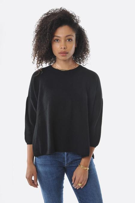 Oyuna Knitted Moss Stitch Pullover - Black