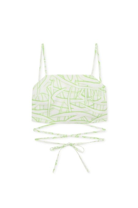 Paloma Wool Duo Linen Shadow Print Top - Off White/Green