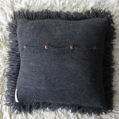 Erica Tanov Alpaca Shag Pillow - Charcoal