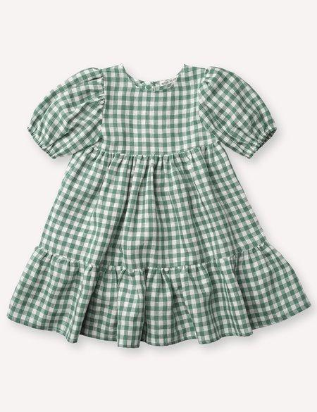 Kids Petits Vilains Clementine Puff Sleeve Dress - Green Gingham