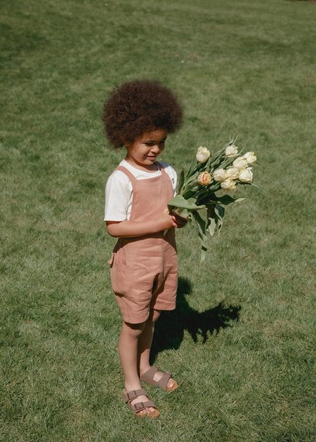 kids unisex Petits Vilains Gabriel Short Overalls - Baked Clay