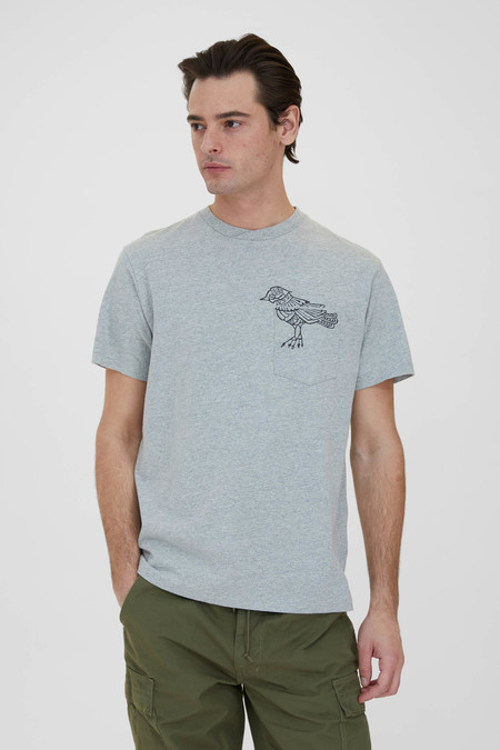 Engineered Garments Printed Cross Crew Neck T Shirt - Grey Phoenix