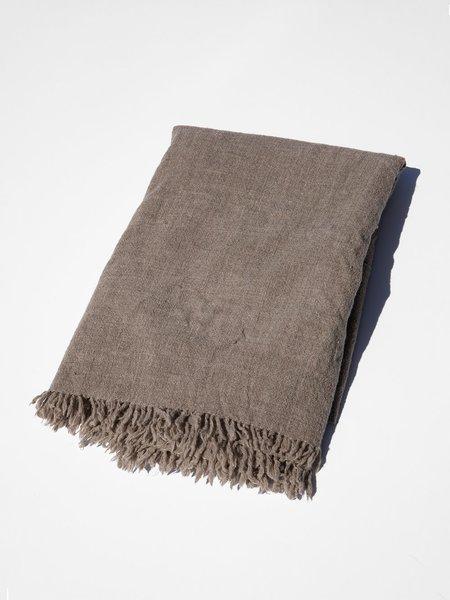 shokino khadi wool blanket - bark