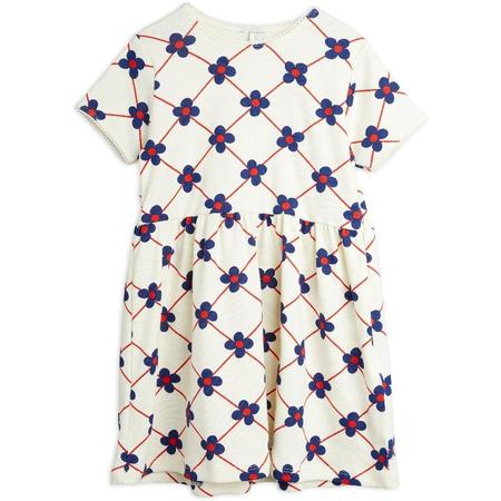 Kids mini rodini flower check allover short sleeve dress - offwhite