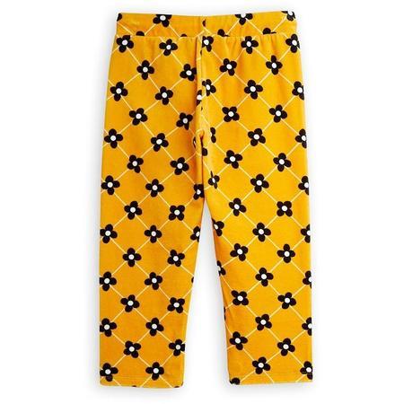 Kids mini rodini flower check velour trousers - yellow