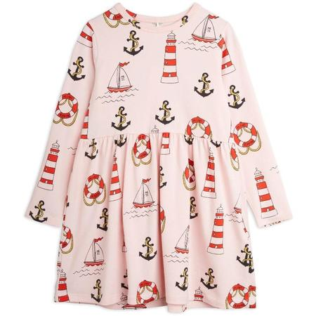 Kids mini rodini lighthouse allover long sleeve dress - pink