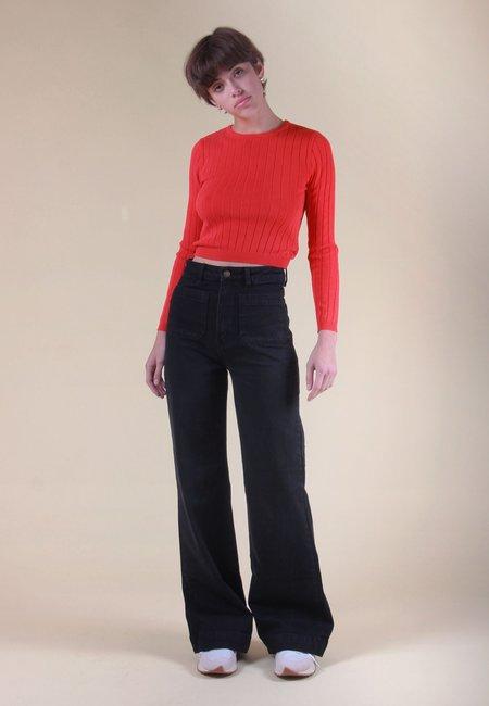 Rollas Jane Knit Long Sleeve sweater - poppy