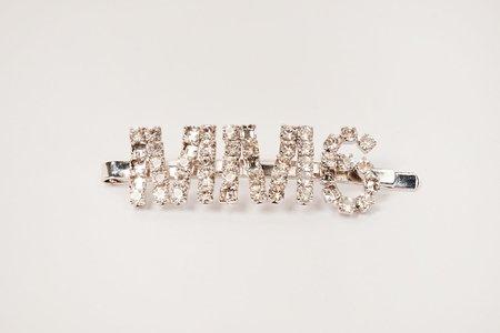 MM6 Maison Margiela Embellished-logo hair clip - Silver tone