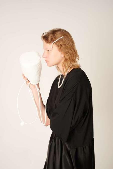 MM6 Maison Margiela Faux-pearl barrette hairclip - White/Silver