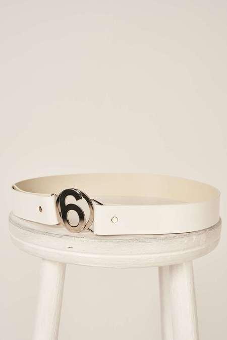 MM6 Maison Margiela Logo plaque belt - White