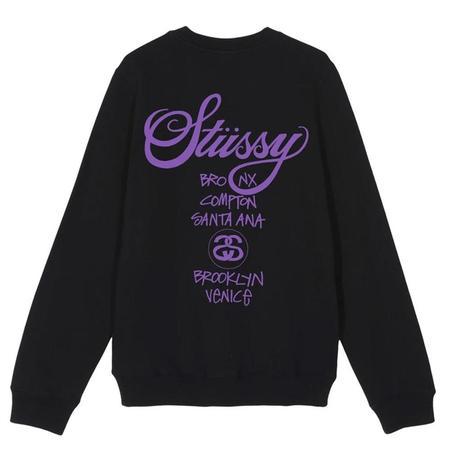 Stussy World Tour Crew - Black/Purple