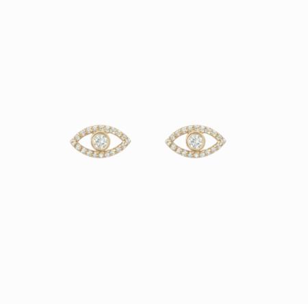 Shashi Evil Eye Pave Studs - Gold