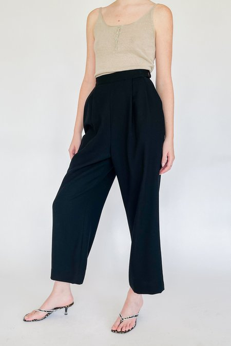 Vintage High Rise Pleated Trousers - black