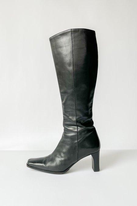Vintage Leather Square Toe Knee Boots - Black