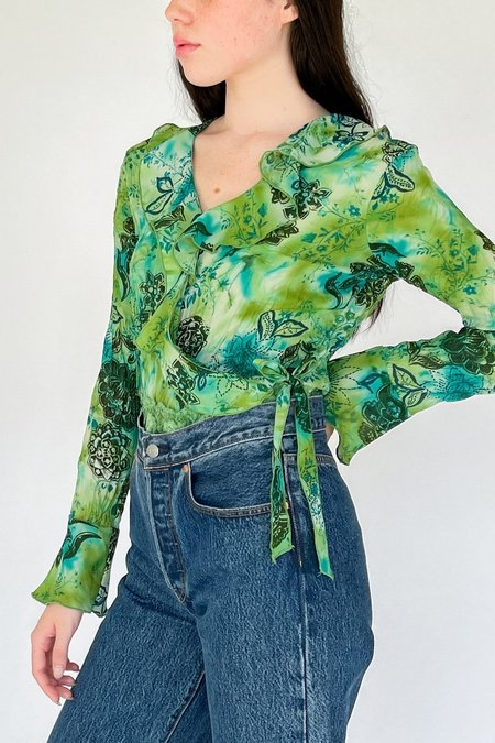 Vintage Wrap Blouse - Green Aqua Flower Print