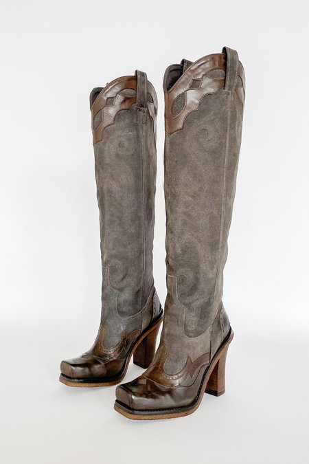 Vintage Suede Square Toe Knee High Cowboy Boots
