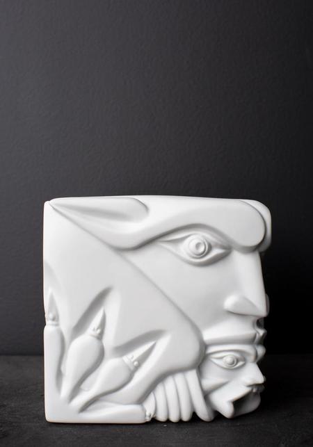 Vista Alegre The Good and The Evil Gargoyle Porcelain Sculpture - white