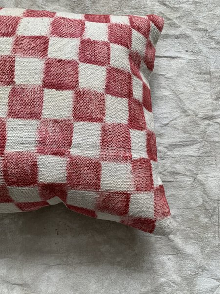 Cuttalossa & Co. Hand painted Checkered Large Throw Pillow - Brick