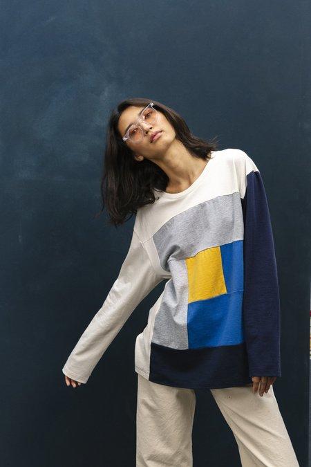 Unisex Carleen Log Cabin Oversized T-Shirt - Multi Blues
