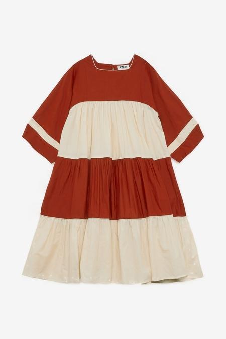 YMC Petite Paloma Dress - Red/Ecru