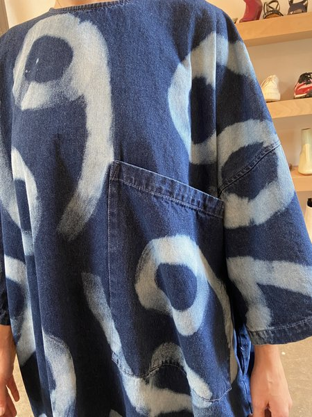 Gift of Garb OVERSIZED BLEACHED DRESS - BLUE/white