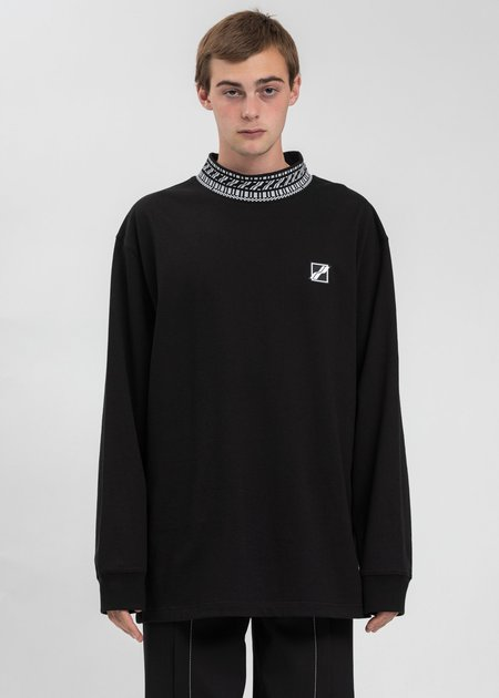 we11done High Neck Logo Long Sleeves sweater - Black