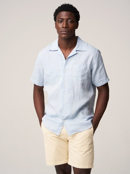 Freemans Sporting Club Linen Sleeve Camp Collar Shirt - Blue