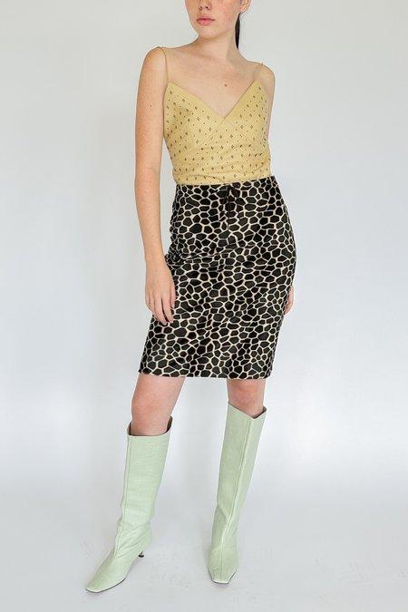 Vintage Velvet Drawstring Skirt - Giraffe print