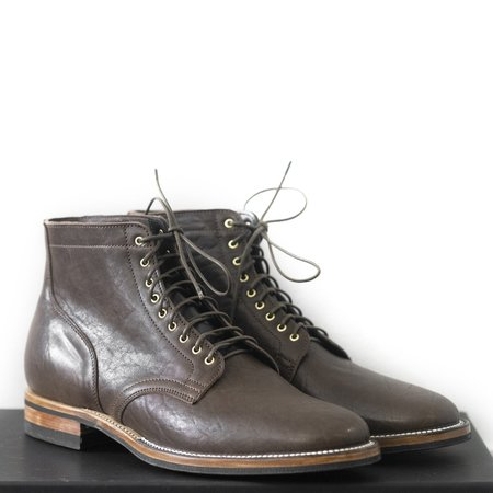 Viberg Washed Horsehide Service 2030 Last Boot - Dark Brown