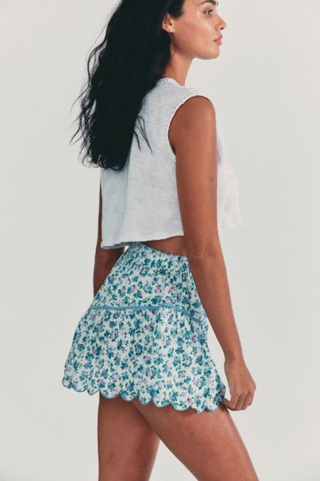 LoveShackFancy Memphis Skirt - Blue Jay Floral