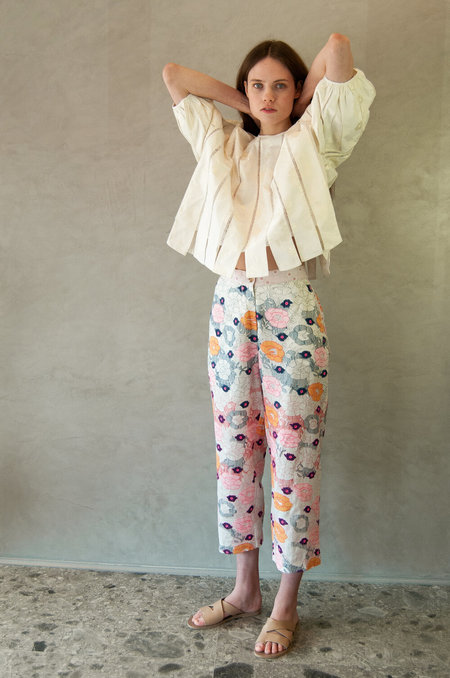 Untitled.CO Vika Pants - Off White/Colour Flowers