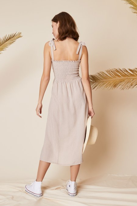 Whimsy + Row Sophie Dress - Beige Gingham