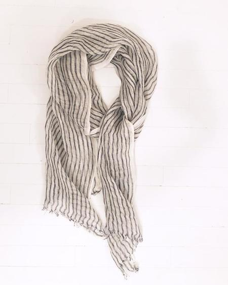 PERSONS Navy Striped Linen Scarf - navy
