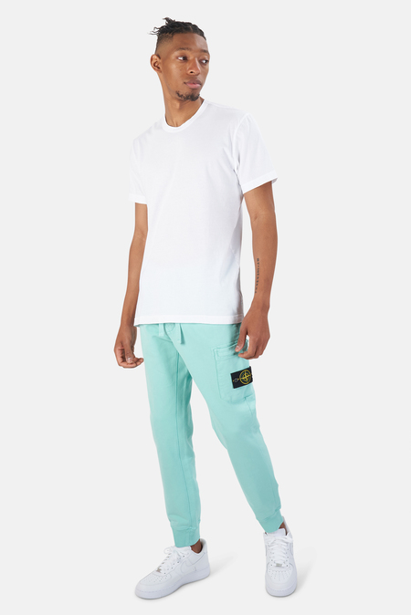 Stone Island Garment Dyed Cotton Fleece Pants - Aqua