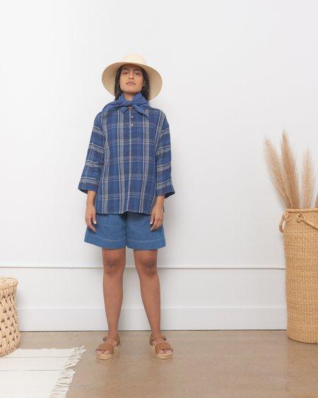 ICHI ANTIQUITES Indigo Linen Check Pullover - Navy