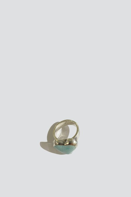 Vintage Candy Heart Signet Ring - Sterling Silver/turquoise