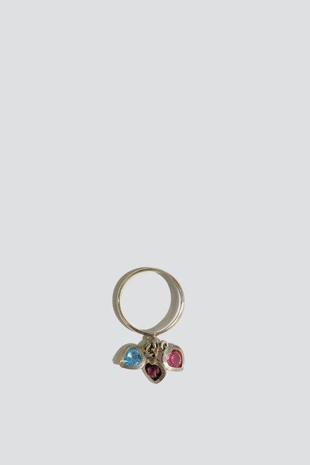 Vintage Gem Heart Triple Charm Ring - Sterling Silver