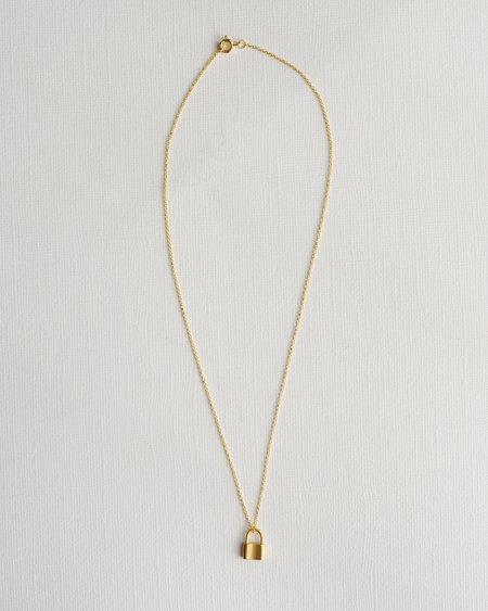 Gem & Blue Tiny Padlock Necklace - Gold