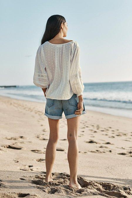 Velvet Cotton Lace Boho Blouse - White