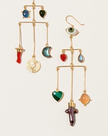 Grainne Morton Pyramid Drop Earrings - Gold/Multi