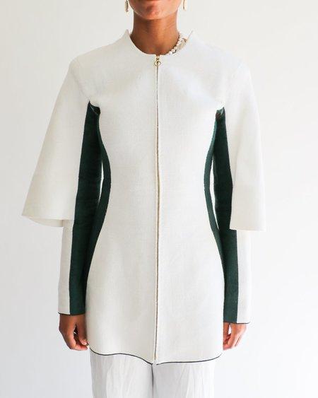 [Pre-loved] Aganovich Colorblocked Jacket - Cream/Green