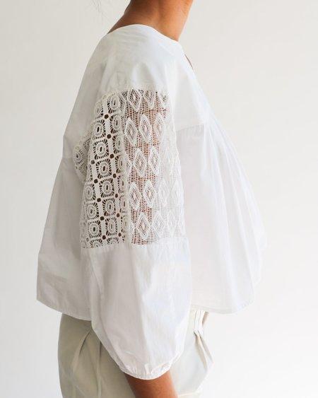 [Pre-loved] Apiece Apart Lace Trim Cotton Blouse