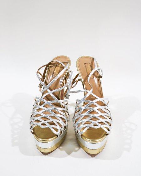 [Pre-loved] Aquazzura Metallic Caged Sandals - Silver/Gold