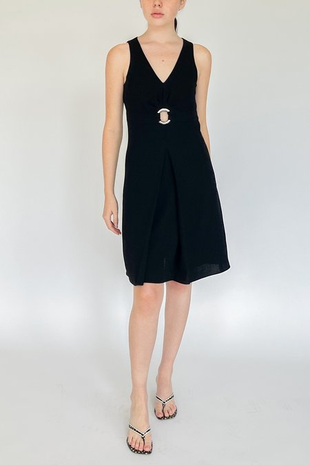 Vintage Armani Wool Pleated Dress - Black